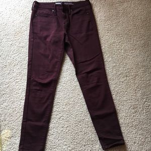 High rise purple skinny jeans